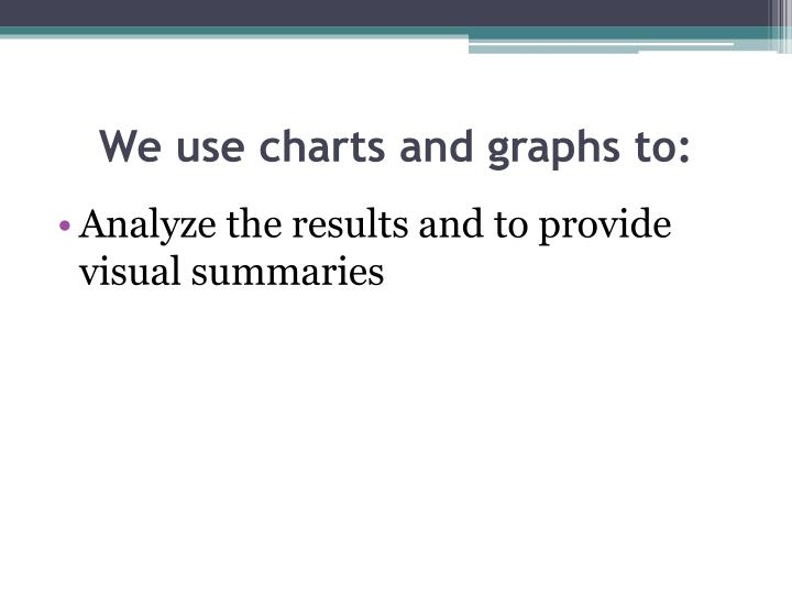 We use charts and graphs to: