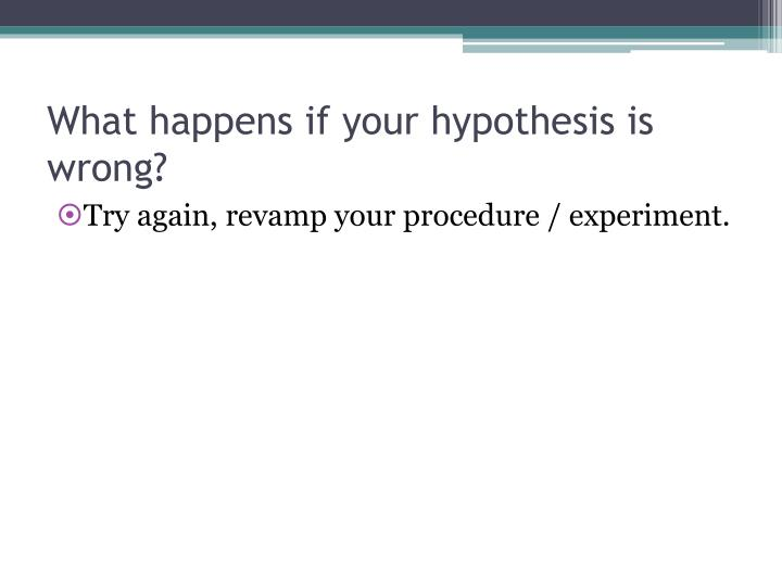 What happens if your hypothesis is wrong?