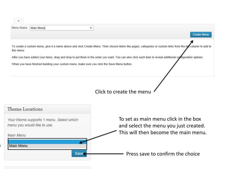 Click to create the menu