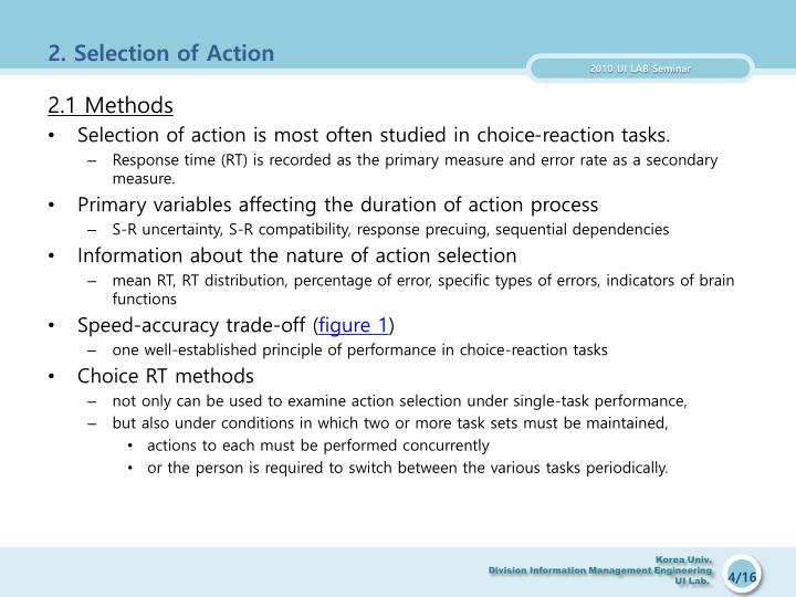 2. Selection of Action