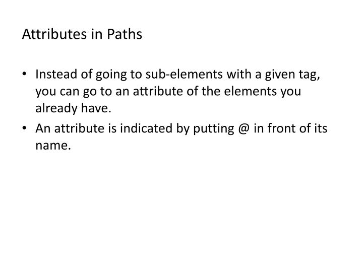 Attributes in Paths