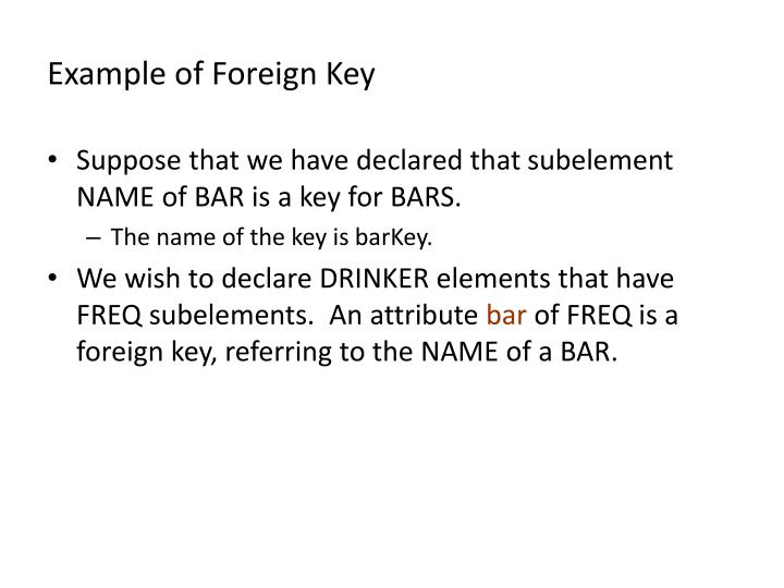 Example of Foreign Key