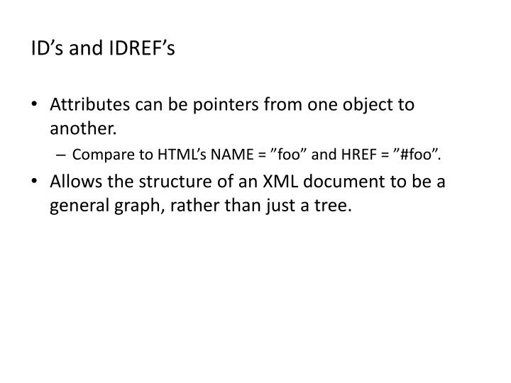 ID's and IDREF's