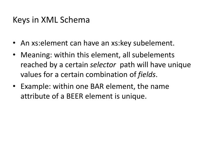 Keys in XML Schema