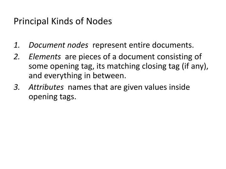 Principal Kinds of Nodes