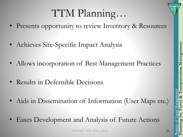 TTM Planning…