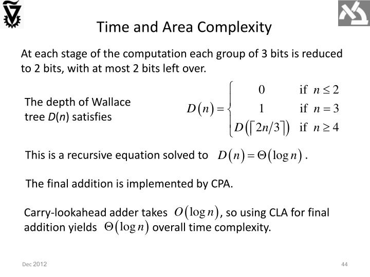 Time and Area Complexity