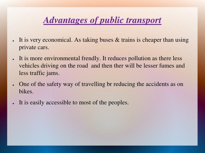 Advantages of public transport