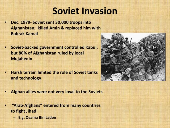 soviet invasion of afghanistan thesis Another effect of soviet invasion of afghanistan was the emergence of holy war or jihad it was also the rallying point that many muslims in afghanistan associated with young men drawn from different parts of the country fought the soviet union troops on the side of guerrillas.