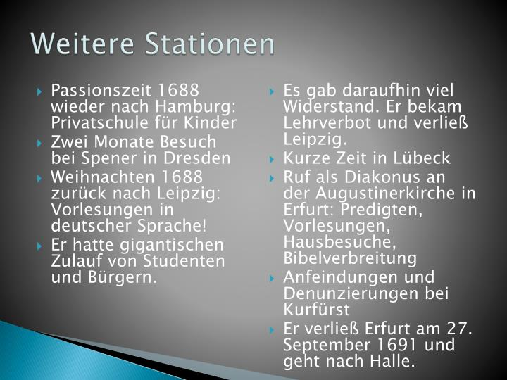 Weitere Stationen
