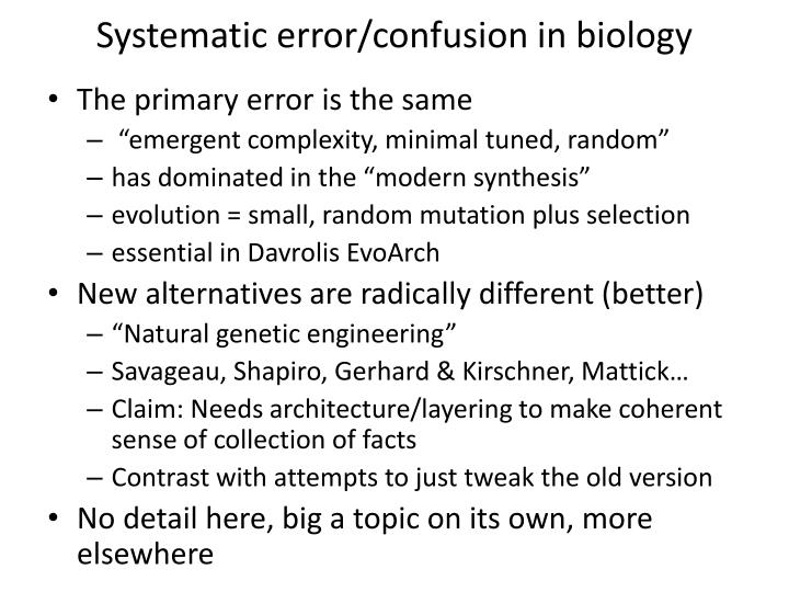 Systematic error/confusion in biology