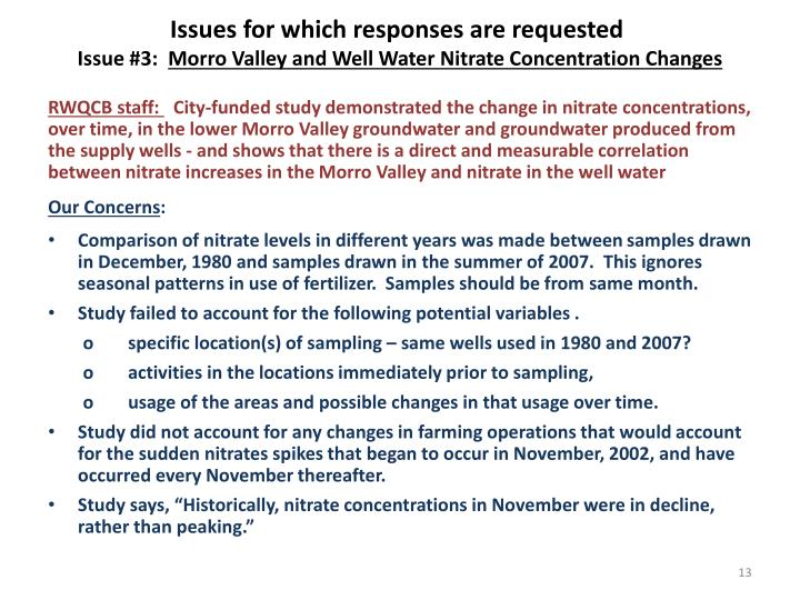Issues for which responses are