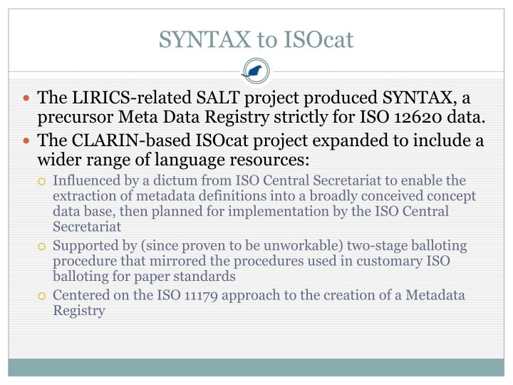 SYNTAX to ISOcat