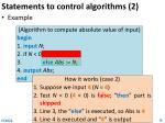 statements to control algorithms 21