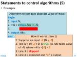 statements to control algorithms 5