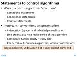 statements to control algorithms