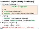 statements to perform operations 2