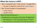 what this lecture is not