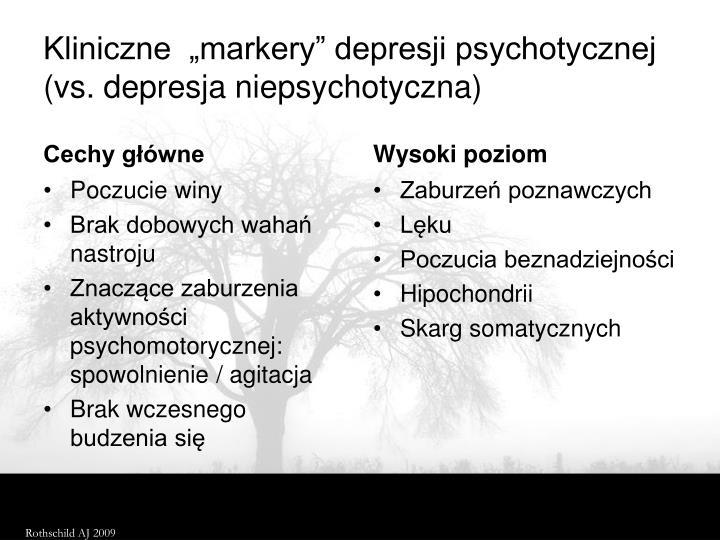 """Kliniczne  """"markery"""" depresji psychotycznej ("""