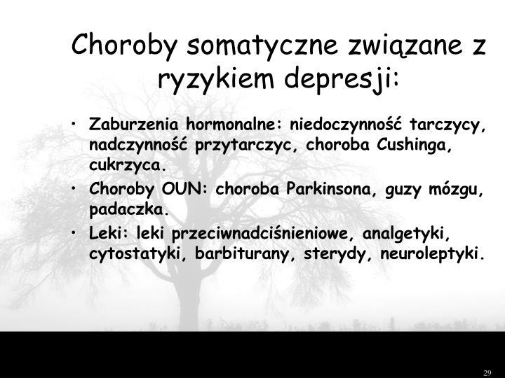 Choroby somatyczne związane z ryzykiem depresji: