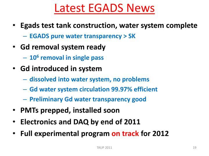 Latest EGADS News