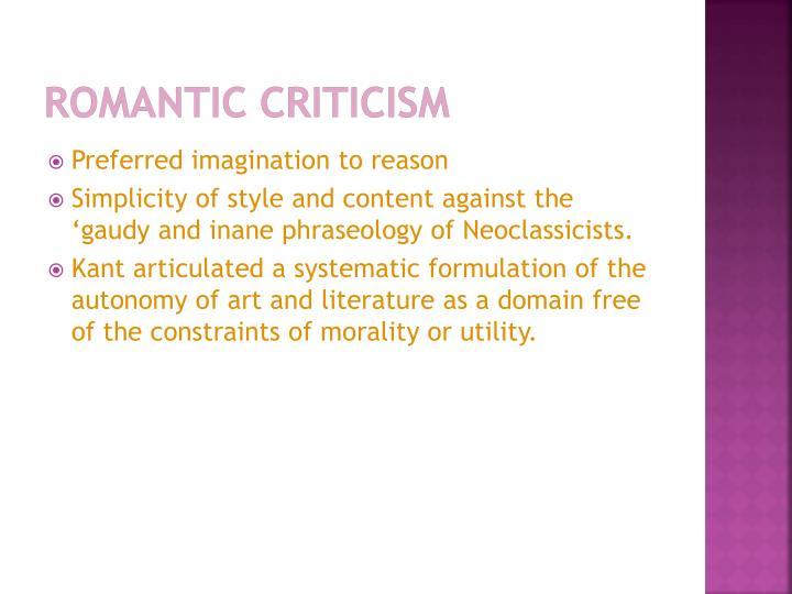 Romantic Criticism