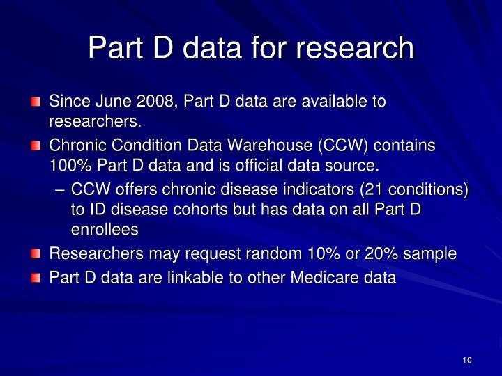 Part D data for research