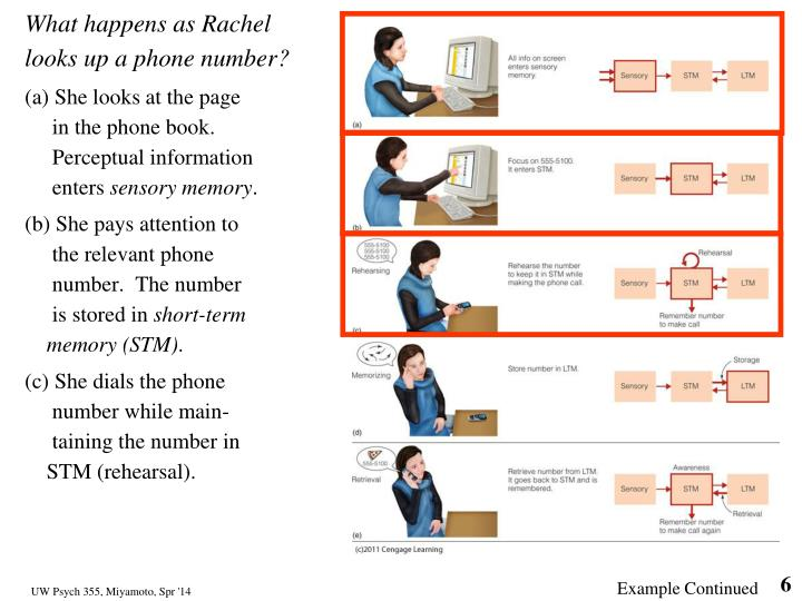 What happens as Rachel looks up a phone number?