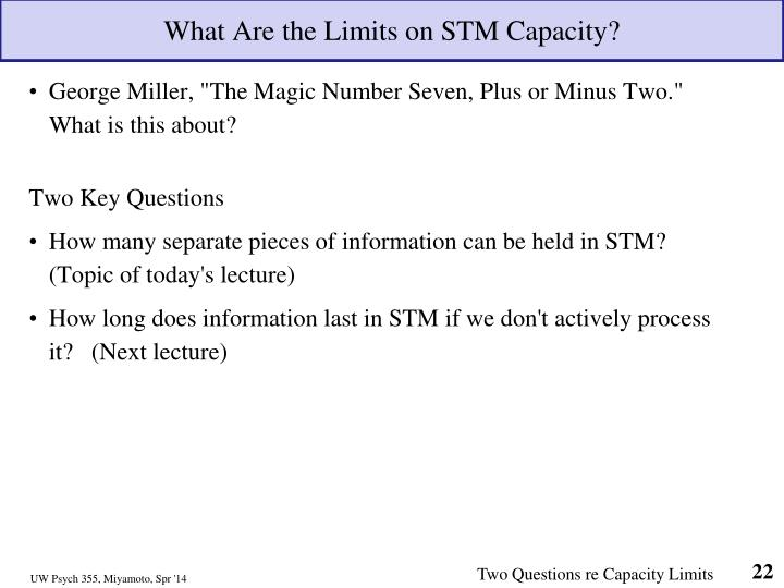 What Are the Limits on STM Capacity?