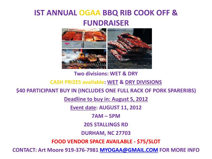 Ist annual ogaa bbq rib cook off fundraiser