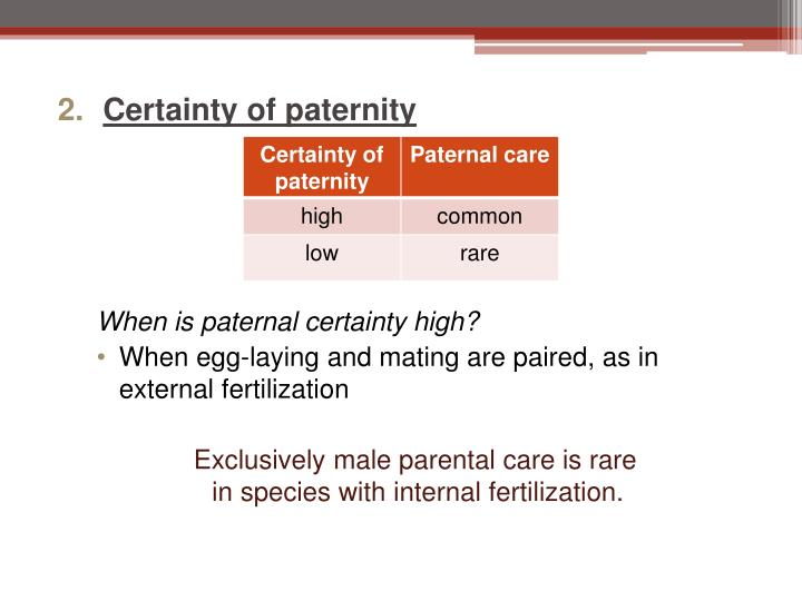 Certainty of paternity