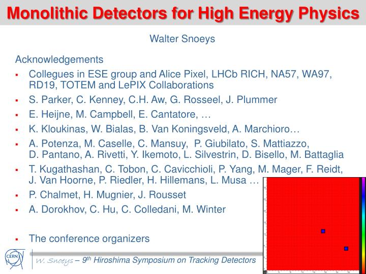 monolithic detectors for high energy physics n.