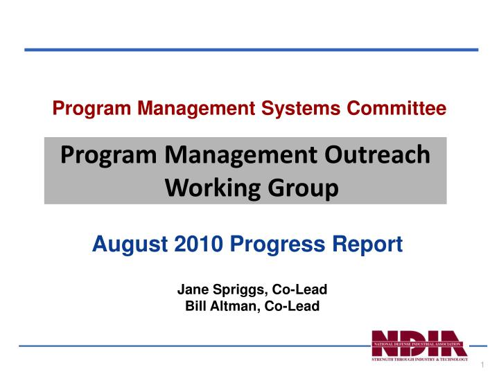 program management systems committee n.