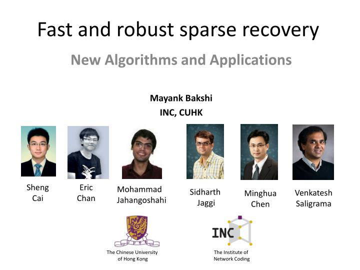 fast and robust sparse recovery n.