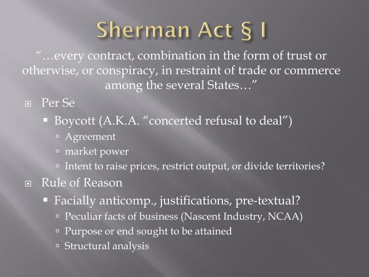 Sherman Act § I