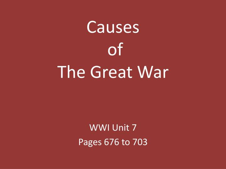 causes of the great war n.