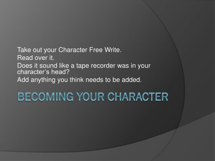 becoming your character n.