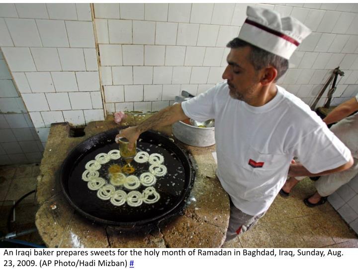 An Iraqi baker prepares sweets for the holy month of Ramadan in Baghdad, Iraq, Sunday, Aug. 23, 2009. (AP Photo/