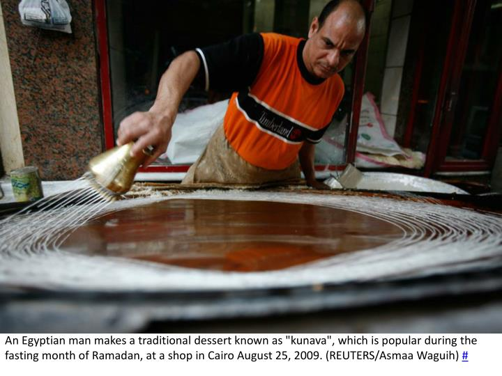 """An Egyptian man makes a traditional dessert known as """""""