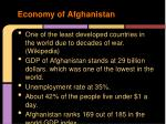 economy of afghanistan