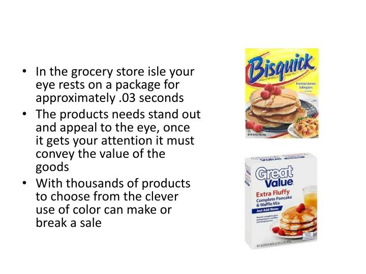 In the grocery store isle your eye rests on a package for approximately .03 seconds