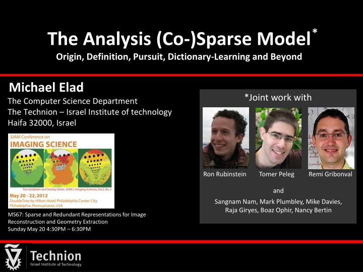 the analysis co sparse model origin definition pursuit dictionary learning and beyond n.