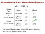 parameters for water accumulation equation