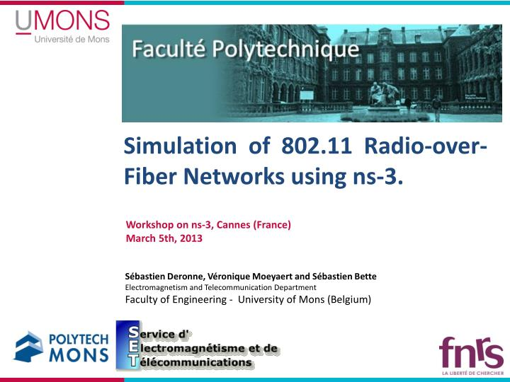 simulation of 802 11 radio over fiber networks using ns 3 n.