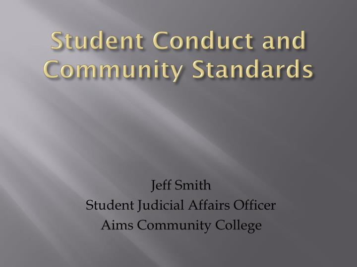 student conduct and community standards n.