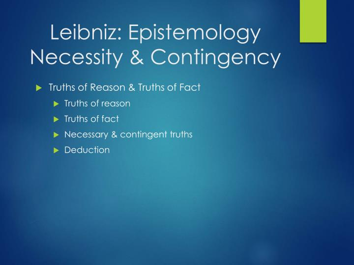 Leibniz: Epistemology