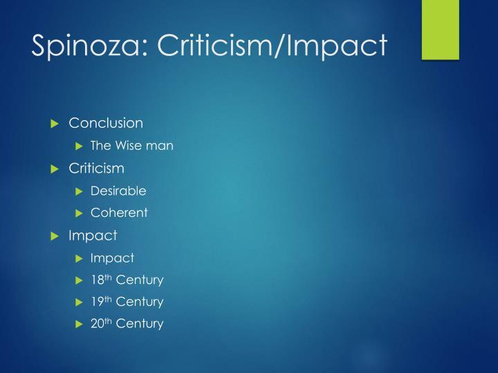 Spinoza: Criticism/Impact