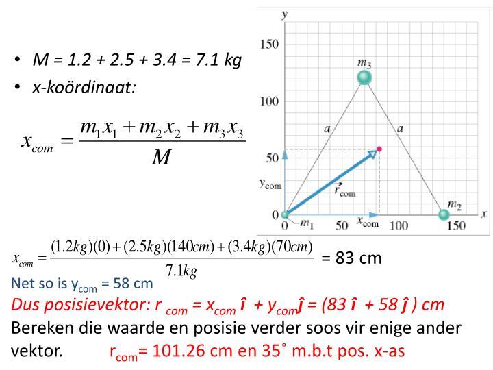 M = 1.2 + 2.5 + 3.4 = 7.1