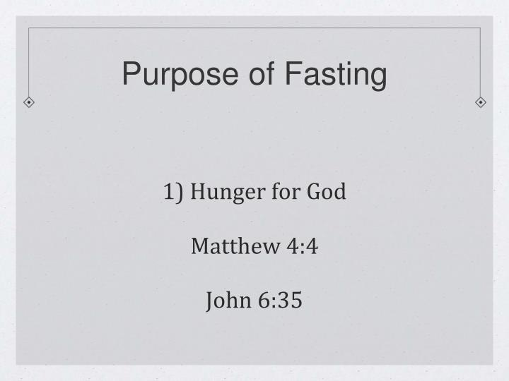 Purpose of Fasting