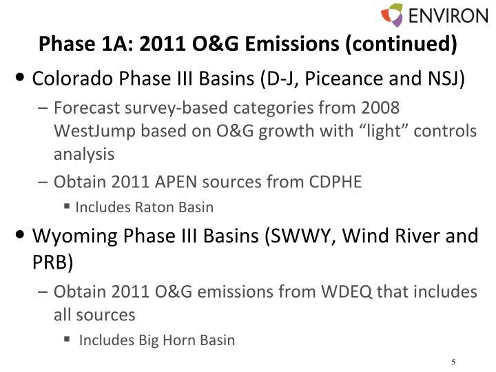 Phase 1A: 2011 O&G Emissions